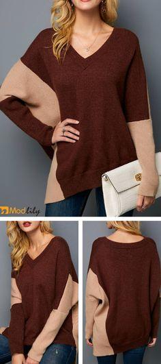 ee43396b38 Asymmetric Hem V Neck Long Sleeve Sweater. brown, coloring, v neck, casual