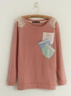 Round Neck Colorful Pocket Pink Sweatershirt$40.00