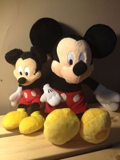 Mickey Mouse Stuffed Animal Plush Toy a Set of 2 15 & 9 inches COLLECTIBLE!!!
