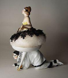 Art Deco Porcelain Pierrot Powder Puff  Holder w Pierrette Half Doll Puff  CUTE! #FrenchorGerman