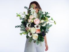 This beautiful Spring bouquet not only looks fresh and realistic but will be a keepsake for a lifetime without the worries of wilting fresh flowers. This boho bridal bouquet is made with high quality silk flowers such as peonies, anemones, succulents, lily of the valley, delphinium, eucalyptus, lamb's ear and greenery. Anemone Bridal Bouquet, Flower Girl Bouquet, Spring Bouquet, Flower Girl Basket, Bride Bouquets, Flower Bouquet Wedding, Bridesmaid Bouquet, Fresh Flowers, Silk Flowers