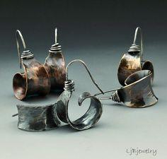 Silver Earrings, Red Brass Earrings, Copper Earrings, Hoop Earrings, Dangle Earrings, Mixed Metal Earrings, Metalsmith, Earthy Organic Style   Some