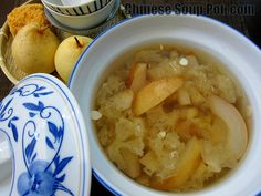 Double Steamed Asian Pear Almond Dessert Soup | Chinese Soup Pot