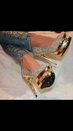 Bedazzled jeans and heels