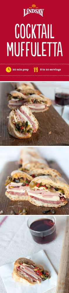 Make this classic Muffuletta sandwich appetizer-friendly for all your holiday parties by swapping the traditional round loaf for a baguette! Get the recipe along with more holiday party tips. http://my.ilovelindsay.com/holiday-entertaining/perfect-pairings#cocktail-muffuletta