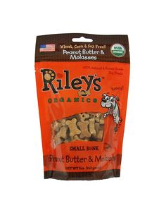 Riley's Organics - Peanut Butter and Molasses - 5 oz Small Biscuits - Human Grade Organic Dog Treats - Resealable Bag -- Awesome dog product. Click the image : Dog treats