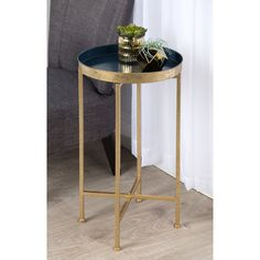 Porch & Den Alamo Heights Zambrano Round Metal Foldable Tray Accent Table options available) Metal End Tables, Sofa End Tables, End Table Sets, End Tables With Storage, Bedside Tables, Coffee Tables, Gladom Ikea, Furniture Decor, Living Room Furniture
