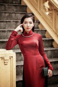 Cinnabar Color Ao Dai Custom Made, Silk Dress, Black Satin Pant, Long Sleeve Vietnamese Traditional Dress, Vietnamese Dress, Traditional Dresses, Vietnamese Clothing, Ao Dai, Oriental Fashion, Asian Fashion, Grunge Style, Asian Woman