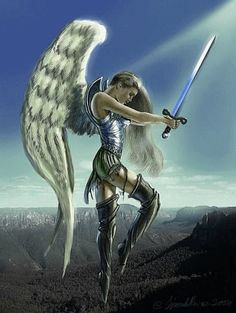 Flying warrior angel this reminds me of my cousin Angels Among Us, Angels And Demons, Fallen Angels, Engel Krieger Tattoo, Fantasy World, Fantasy Art, Angel Artwork, Angel Paintings, Angel Drawing