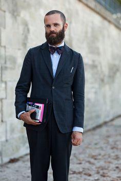 preppy: full suit + glasses + books