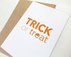 Halloween card Trick or treat greeting card orange by AvenirCards