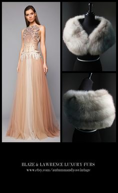 Stay luxuriously warm……..……...https://www.etsy.com/shop/AutumnandYosVintage?ref=hdr_shop_menu….#luxury #luxurylife #luxe #fashion #style #trend #gown #statement #wedding #prom #redcarpet #blacktie #party #gatsby #20s #formal #event #inspiration and #justbecause #LuxuryGowns + #LuxuryFurs = #PerfectCombination…….GET THIS LOOK: Tony Ward 2015 - 2016 Fall Winter Gown + Blaze & Lawrence Luxury Fur Stole