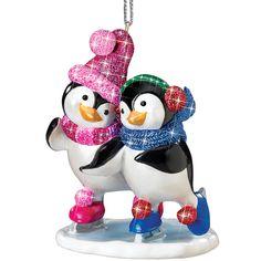 Playful Penguins Christmas Ornaments  - Skating
