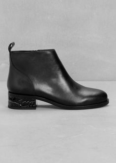 & Other Stories image 1 of Textured Heel Ankle Boots in Black