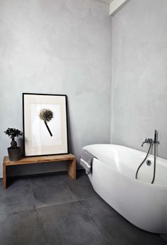 #bathroom #concrete #gray #minimal #timberfurniture