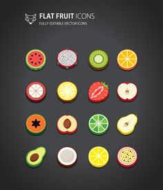 This is flat style Fruit Icons Set. it is cute and simple design.