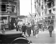 Corner of Georgia and Granville streets in Vancouver, 1928 Old Pictures, Old Photos, Georgia Street, Granville Street, Story Inspiration, Under Construction, Back In The Day, North West, Vancouver