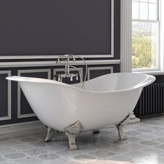 Cast Iron Double Ended Slipper Tub X w/ Deck Mount Faucet Drillings & Polished Chrome Feet - Cambridge DES-DH-CPDesigning your bathroom to include a cast iron double ended slipper clawfoot tub reveals your taste for both elegance and style in y Cambridge, Cast Iron Bathtub, Freestanding Tub Filler, Deck, Soaking Bathtubs, Hand Held Shower, Clawfoot Bathtub, Polished Chrome, Plumbing