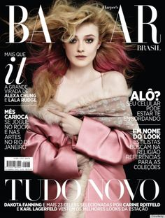 Dakota Fanning's Dramatic Harper's Bazaar Brazil September Cover The mag's cover girl is Dakota Fanning, who shows off an intense pink ombré hairstyle.