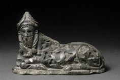Recumbent Steatite Bull. Tello, Iraq. ca. 2150-2000 BCE.