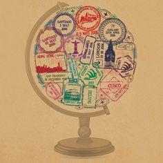 wow. i love this. the world. globe. world globe. passport stamps