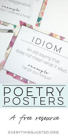 Poetry and Figurative Language Posters FREE Teaching Poetry, Teaching Language Arts, Teaching English, English Teachers, Teaching Reading, Learning, Classroom Displays Secondary, Poetry Unit, Poetry Books