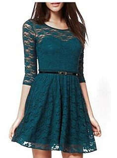 OURS Women's Spoon Neck 3/4 Sleeve Lace Skater Dress with Belt (S, Dark Green) OURS http://www.amazon.com/dp/B00UJIBRVE/ref=cm_sw_r_pi_dp_ObtOvb123EYKF