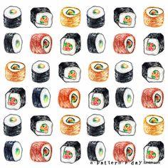 Sushi pattern illustration