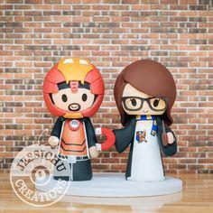 Ironman Groom and Ravenclaw Bride Inspired Avengers X Harry Potter Custom Made Figurine Wedding Cake Topper