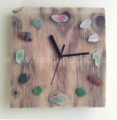 Driftwood Clock Multi Coloured Sea Glass by JayBird Art