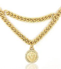 Gold Lion Minaj Dangle Medallion Statement Pendant Necklace Link Chain