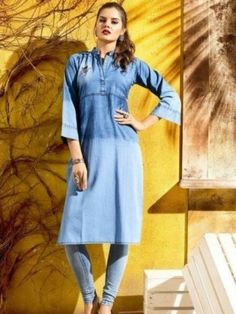 #Denim Blue Stitched Plain Straight Kurti Frock Style Kurti, Jacket Style Kurti, Kurti With Jacket, Kaftan Style, Denim Kurti Designs, Cold Shoulder Kurti, Floor Length Kurti, Denim Fashion, Fashion Outfits