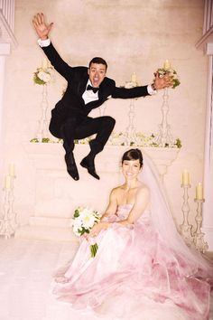 Jessica Biel and Justin Timberlake...love the shot but also the pink dress!!!