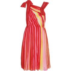 Bottega Veneta Plissé silk-chiffon dress ($1,800) ❤ liked on Polyvore featuring dresses, vestidos, bottega veneta, vestiti, red, multi coloured dress, knot dresses, multi-color dresses, red strap dress and loose fitting dresses