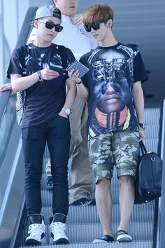 Xiumin and LUhan~ Exo Xiumin, Exo K, Homo, Exo Couple, Xiuchen, Airport Style, Airport Fashion, Kim Min Seok, Kim Jong In