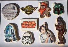 These gorgeous hand painted Star Wars Cookies feature the Death Star, R2-D2, Yoda, Wicket, Boba Fett, a Stormtrooper, Leia, and Chewbacca.