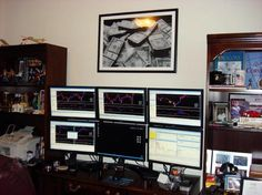 I get asked a lot if I am a real day trader and really make a living doing this. The answer is yes! Now I don't live in a fancy mansion and have a garage full of fancy cars. But I do have a nice home and my wife and I each own our cars. I make as much as I did when I was in the corporate world (some months more).  Does your computer you trade on look like this? This is how I can sit and watch charts and send you an alert when to take action!! That is because I'm watching ALL the action!!