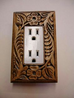 Single electric switch or outlet cover plate Leather Wall, Leather Craft, Router Projects, Wood Projects, Wood Carving Designs, Carving Wood, Wood Carvings, Whittling Wood, Cnc Woodworking