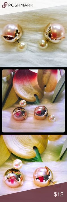 """🔥SALE🔥925 Pink & White Pearl Double Sided Studs Brand New Boutique Item In Packaging And Mesh Bag.. Delicate Light Pastel Pink With White Faux Pearl On Other End And Gold Plated Petals. Sterling Silver Post, So Perfect For Sensitive Ears! Measuring Approximately 0.5"""". 🚫 No Trades 🎉 Boutique Jewelry Earrings"""