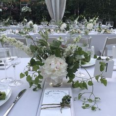 Green and white centerpiece by Ariel Dearie Flowers