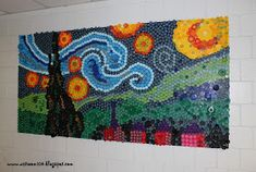 Art Room 104: Finished Bottle Cap Mural: Starry Night! (And what I learned about making a bottle cap mural!)