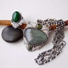 labradorite, tourmaline, moss agate, sterling silver necklace and ring by 6shadowsjewelry on Etsy