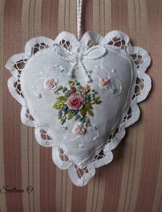 'It contained nothing more than some sachets of lavender. Silk Ribbon Embroidery, Embroidery Art, Embroidery Stitches, Embroidery Patterns, Shabby Chic Embroidery, Embroidered Lace, Sewing Crafts, Sewing Projects, Shabby Chic Hearts