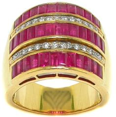 This is a lovely 18k yellow gold ruby and diamond ring. The ring is set with bright red straight baguette cut rubies that weighs approximately 2.70ct. Alternating the rubies are sparkling round cut diamonds that weighs approximately 0.50ct and are set on 18k white gold. The color of the diamonds is H with VS clarity. Ruby Rings, Ruby Jewelry, Round Cut Diamond, Pink Yellow, Baguette, Color Combinations, Clarity, Diamonds, White Gold