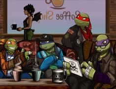 The RP Gang of TMNT2012 in Chatwing Cafe by JasmineAlexandra.deviantart.com on @deviantART