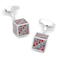 Multicolor Crytal 3D Cube Cufflinks