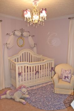 Design Dazzle: European Toile And Lavender Baby Nursery ~❥ I love the wall. Not decorating a nursery but too pretty not to save