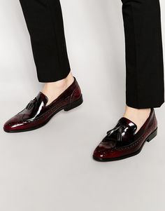 ASOS Brogue Loafers in Burgundy Leather With Tassel