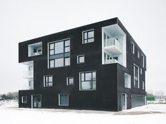 The project 'Black & White Twins' experiments with the spatial and visual integration of compact collective housing solutions in the new exclusive urban deve...