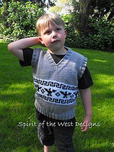 T-Bird Vest - Knitting Pattern, Children, Cowichan / Salish, spring, pullover, sweater vest, knit vest, child, toddler, unisex vest, native
